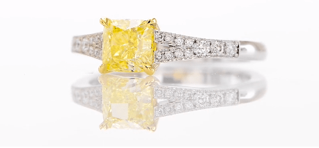 Fancy Intense Yellow Radiant Diamond Engagement Ring from Leibish
