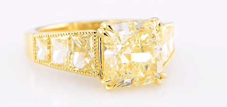 Fancy Light Yellow Trapezoid Side Stone Ring from Leibish
