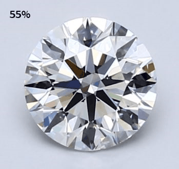 round diamond with 55% table