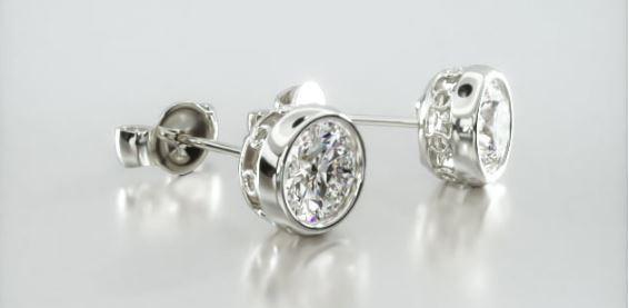 14K White Gold Bezel Diamond Stud Earrings