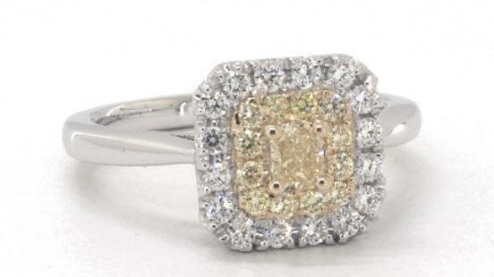 Cushion Halo Fancy Yellow Diamond Ring