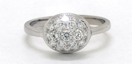 East-West Oval Pave Diamond Ring