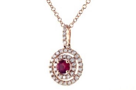 Double Halo Ruby And Diamond Necklace