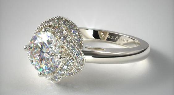 Infinity Milgrain Halo Engagement Ring