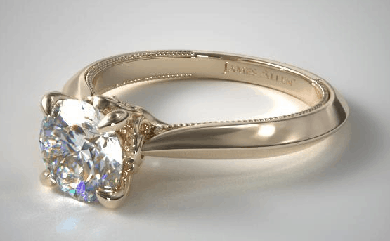 Yellow Gold Tapered Milgrain Scroll Surprise Diamond Engagement Ring