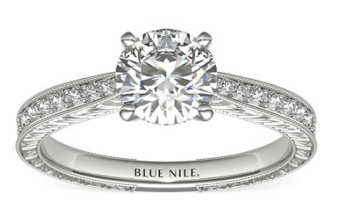 Engagement Ring with Pavé diamonds