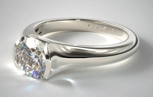 Tapered Half Bezel Engagement Ring