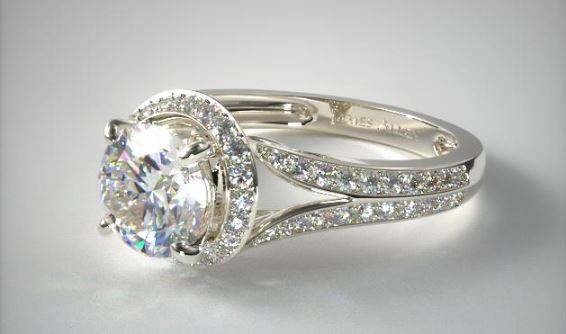 Split Shank Flowering Tulip Diamond Halo Engagement Ring