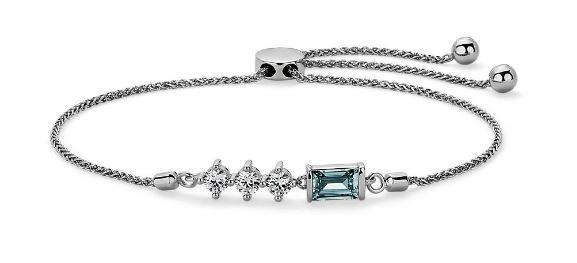 Lab-Grown Blue & White Diamond Baguette Bracelet