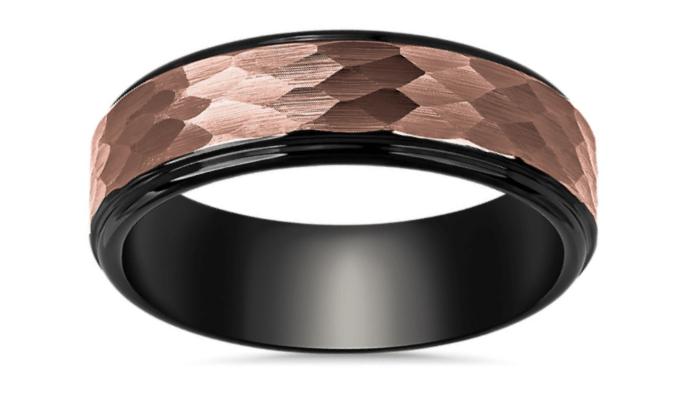 Hammered Espresso Inlay Wedding Ring