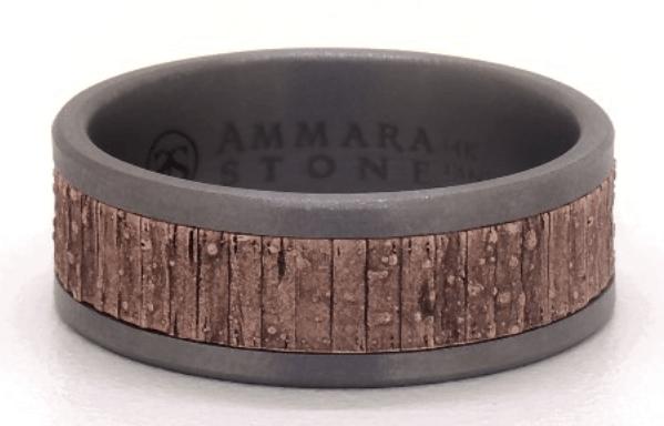 Rose Gold And Grey Tantalum Edges Split Wood Texture Center 8mm Ring