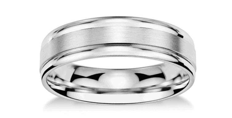 Brushed Inlay Wedding Ring