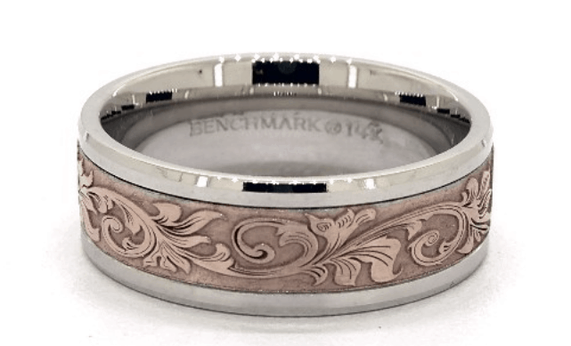 Rose And White Gold Vintage Script Band