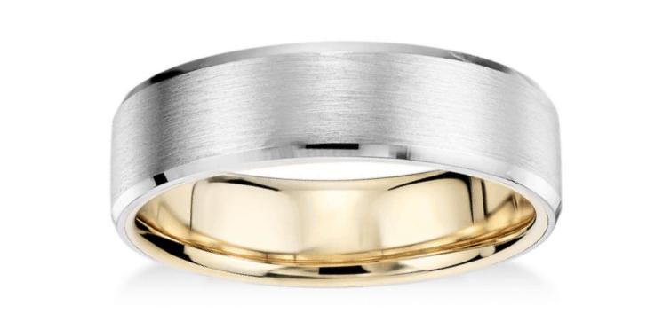 Matte Beveled Edge Wedding Ring