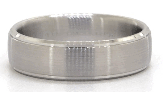 Comfort Fit Satin Center with High Polished Drop Edge Men's Band
