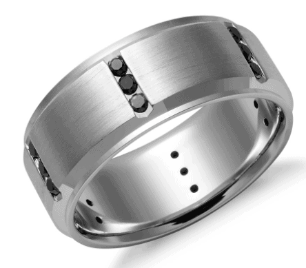 Black Diamond Wedding Men's Ring