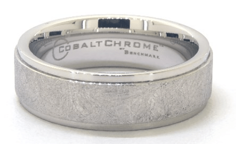 Cobalt Swirl Finish Center with Drop Edge Men's Ring