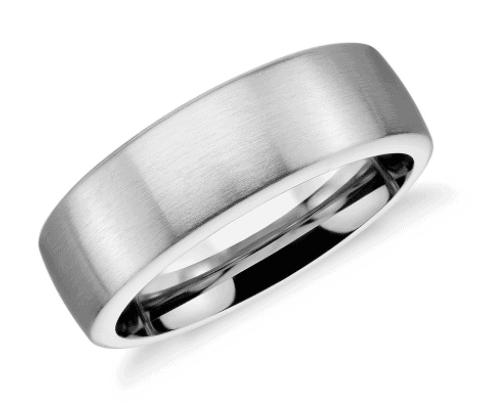 Matte Modern Comfort Fit Wedding Men's Ring in Cobalt