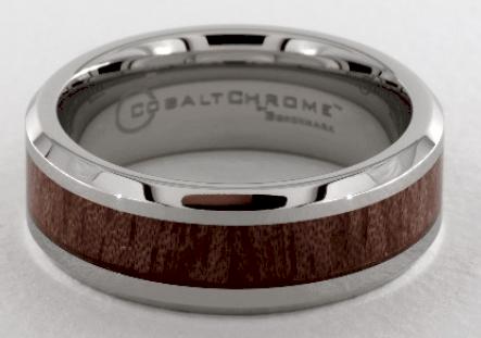 Cobalt chrome Wood Grain Comfort Fit Men's Ring