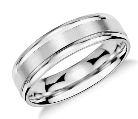 Brushed Inlay Platinum Wedding Men's  Ring