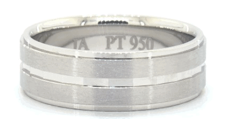 Satin Finish and Faceted Center Groove Comfort Fit Men's Band