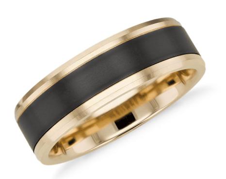 Satin Finish Men's Wedding Ring in Black Titanium and 14k Yellow Gold
