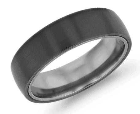 Matte Wedding Ring in Black Titanium and Tantalum