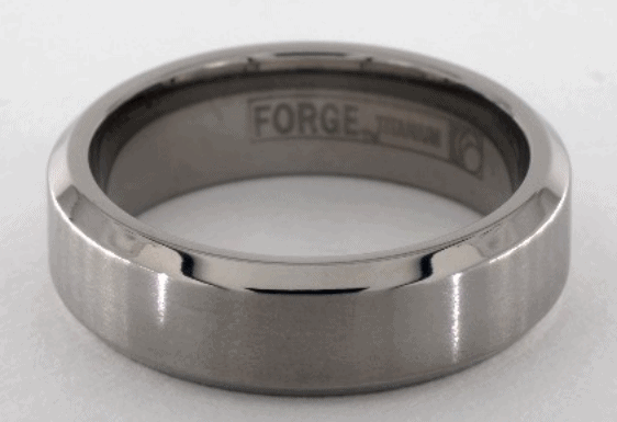 Titanium 7mm Comfort-Fit Satin-Finished Beveled Edge Design Men's Ring
