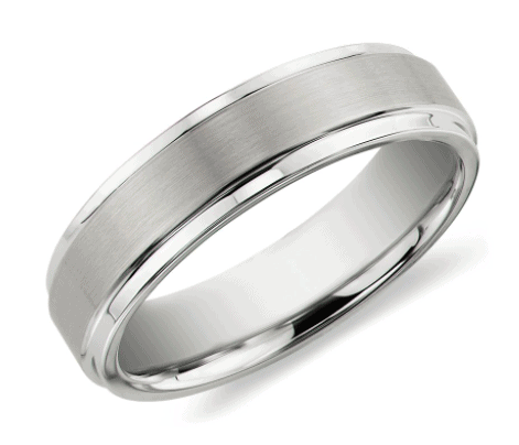 Brushed and Polished Comfort Fit Wedding Men's Ring in White Tungsten Carbide