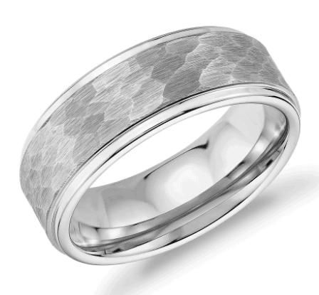 Matte Hammered Comfort Fit Wedding Men's Band in White Tungsten Carbide