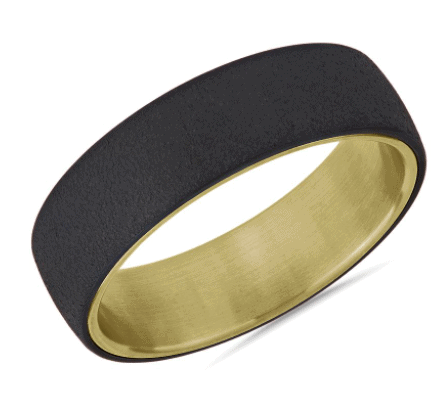 Two-Tone Stone Finish Men's Wedding Ring in Tantalum and Yellow Gold