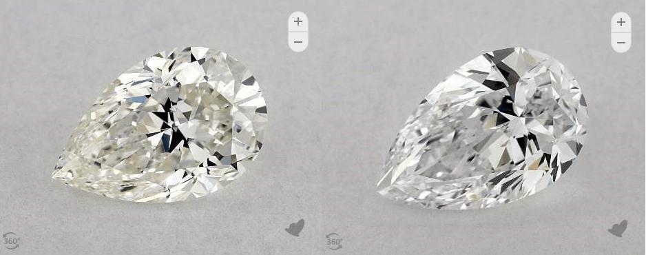 D-I color pear shape diamonds comparison