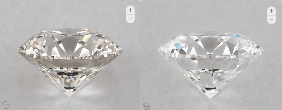 D-J round diamond side comparison