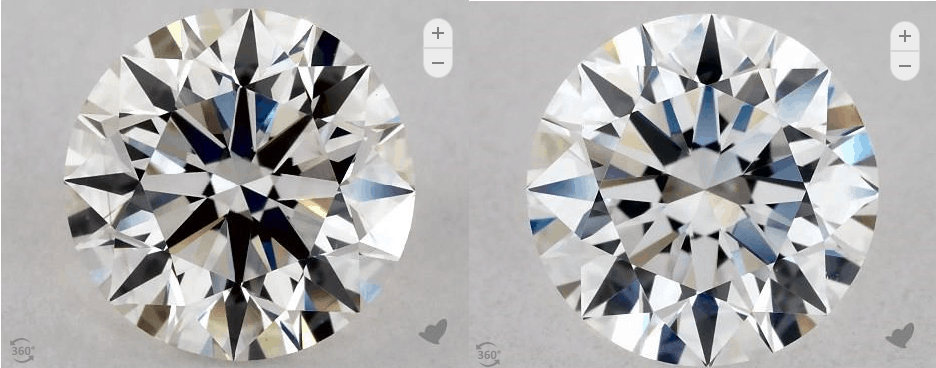 D-J round diamond front comparison