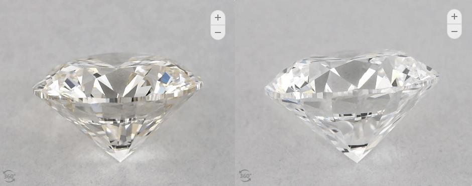 D/H color side diamond comparison