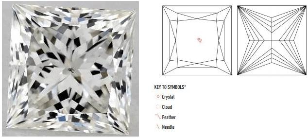 inclusion plot for vs2 princess cut diamond
