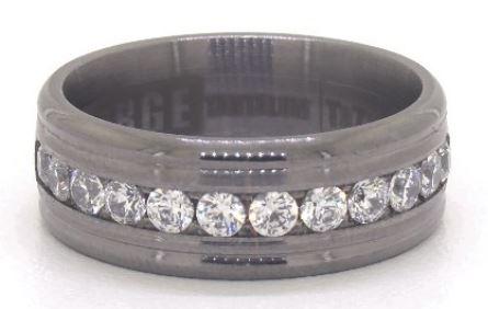 Tantalum Channel Set Diamond Comfort Ring