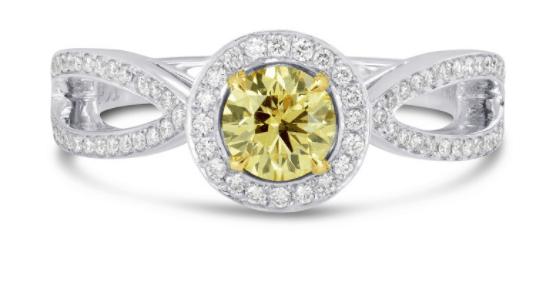Fancy Intense Yellow Round Brilliant Diamond Engagement Ring