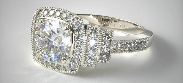 Pavé Step Diamond Engagement Ring
