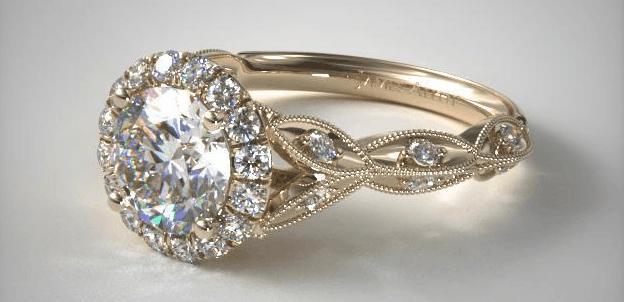 Milgrain Navette Halo Engagement Ring