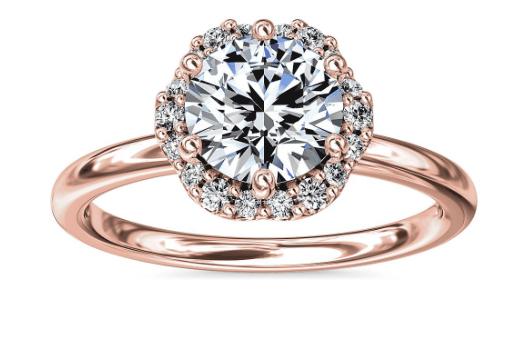 Petite Floral Halo Diamond Engagement Ring