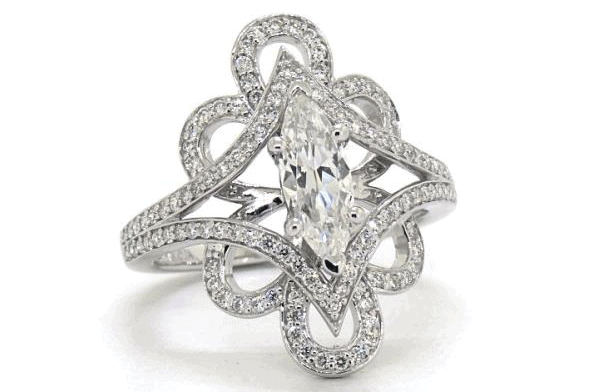 Soft Floral Diamond Engagement Ring