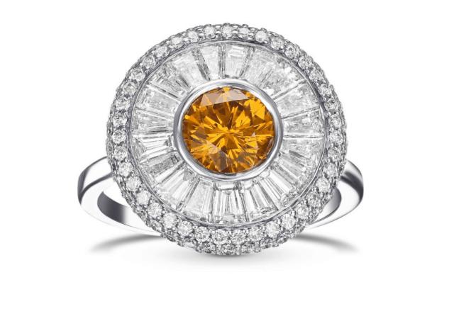 Round Fancy Deep Yellow Orange Diamond Halo Ring