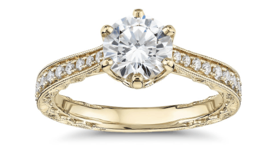 six-Prong Hand-Engraved Cathedral Ring