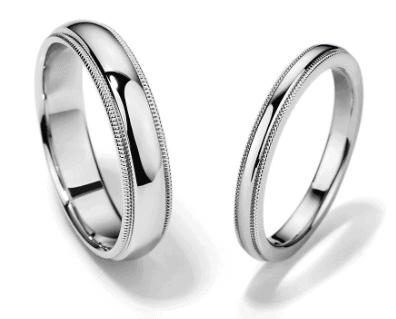 Milgrain matching wedding bands