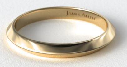 Yellow gold Knife Edge Women's Wedding Ring