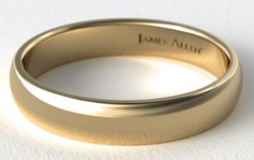 Yellow gold mens Comfort Fit Wedding Ring