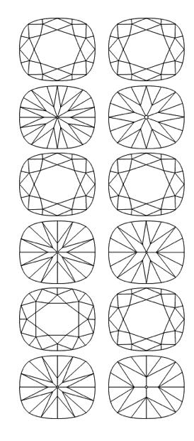 Cushion Cut Diamond Diagram - Standard Cushion Brilliant Plots