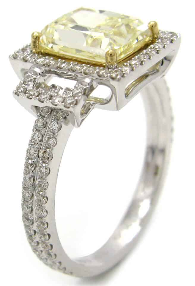 Q&A: Looking for Yellow Diamond in White Halo Engagement Ring Setting.  Not Sure if he can Afford Fancy Yellow. Budget of About $6000.